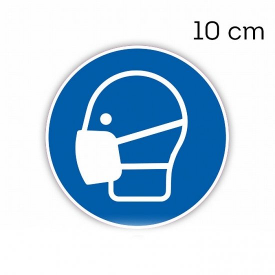 Mondkapje sticker rond 10 cm