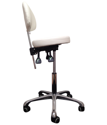 Tabouret 3009wt, Wit luxe rondzit met rug en kantel verstelling