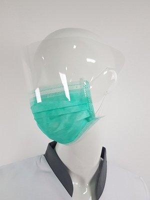 UITVERKOCHT! Vanaf week 18 weer leverbaar, Mondmasker met Spatscherm groen 25 stuks Corona preventie